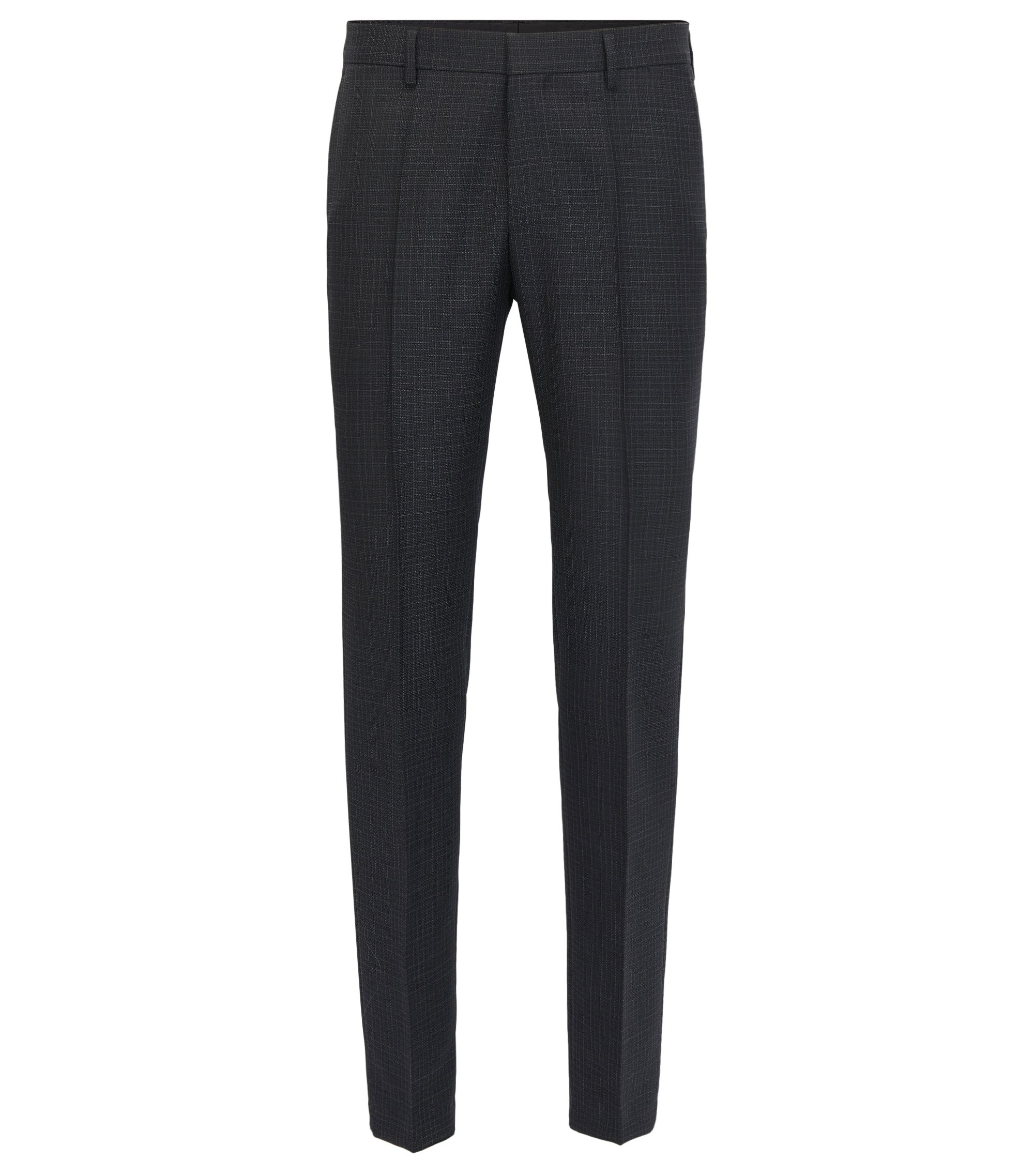 Checked Virgin Wool Dress Pant, Slim Fit | Benso, Open Grey