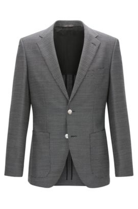 Basketweave Virgin Wool Sport Coat, Regular Fit | Janson, Open Grey