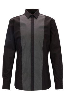Metallic Print Easy Iron Dress Shirt, Extra-Slim Fit   Easto, Black