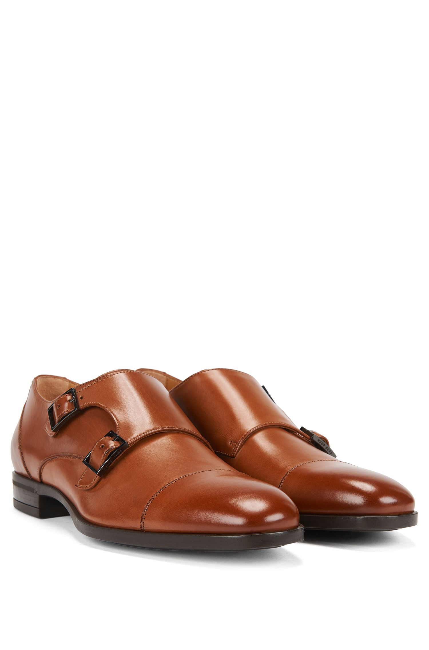 Double-monk shoes in vegetable-tanned leather