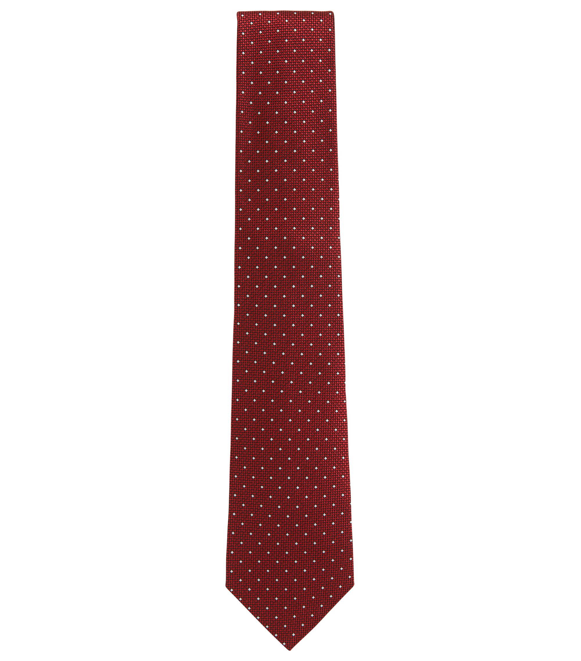 BOSS Tailored Polka Dot Dobby Italian Silk Tie, Red