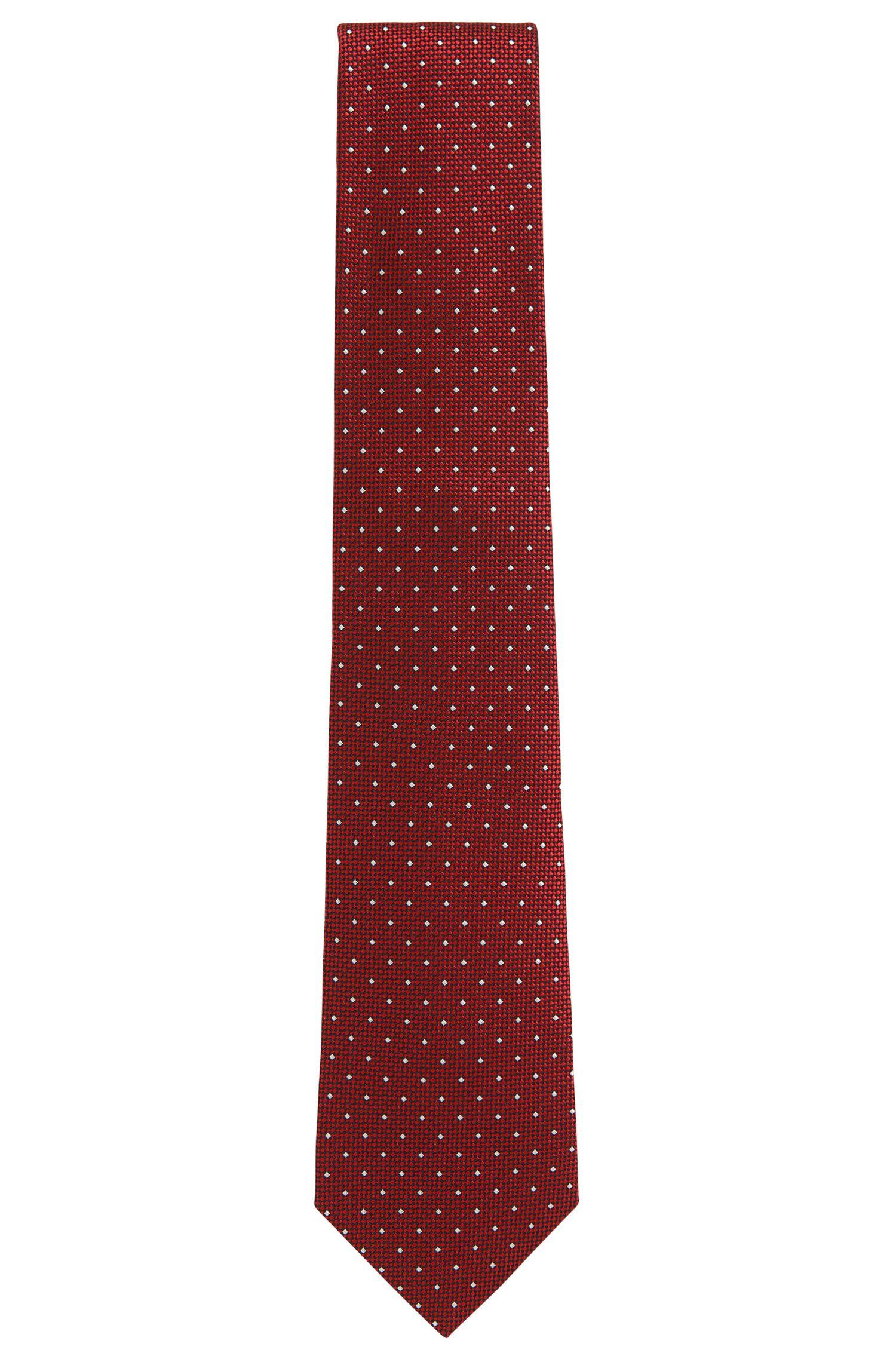 BOSS Tailored Polka Dot Dobby Italian Silk Tie, Red