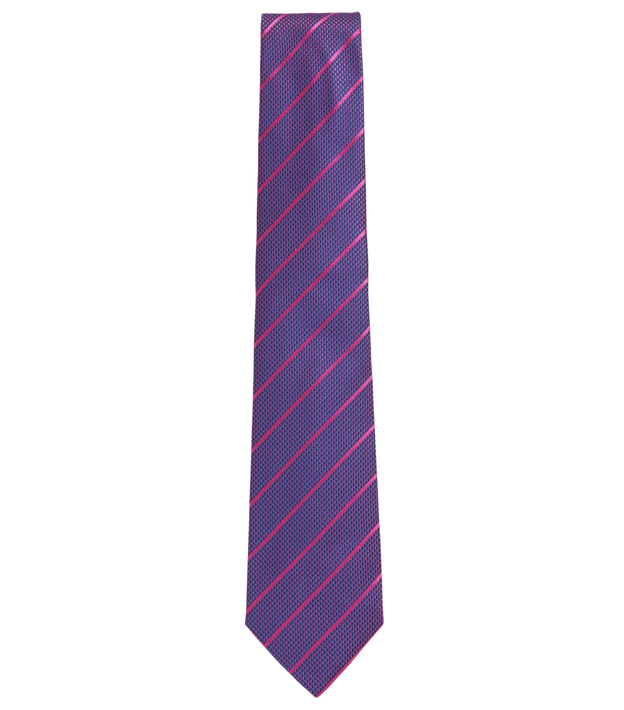 BOSS Tailored Striped Italian Silk Tie, Dark pink