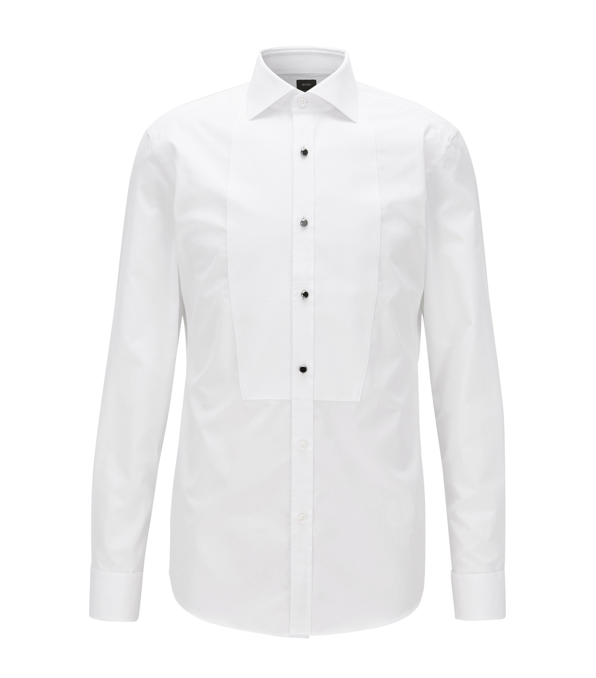 Dobby-Bib 2-Ply Cotton Tuxedo Shirt, Slim Fit | T-Calvin, White