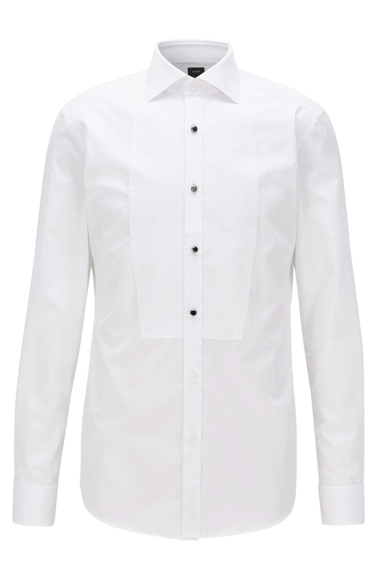 Dobby-Bib 2-Ply Cotton Tuxedo Shirt, Slim Fit | T-Calvin