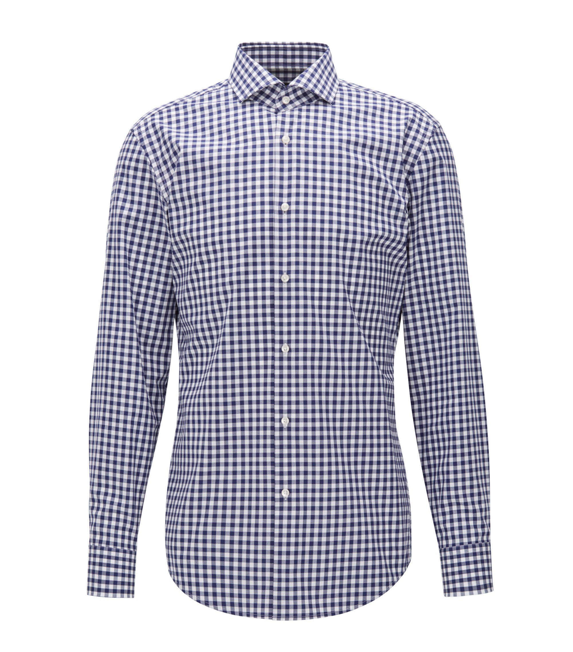 Gingham Cotton Dress Shirt, Slim Fit | Jason, Dark Blue