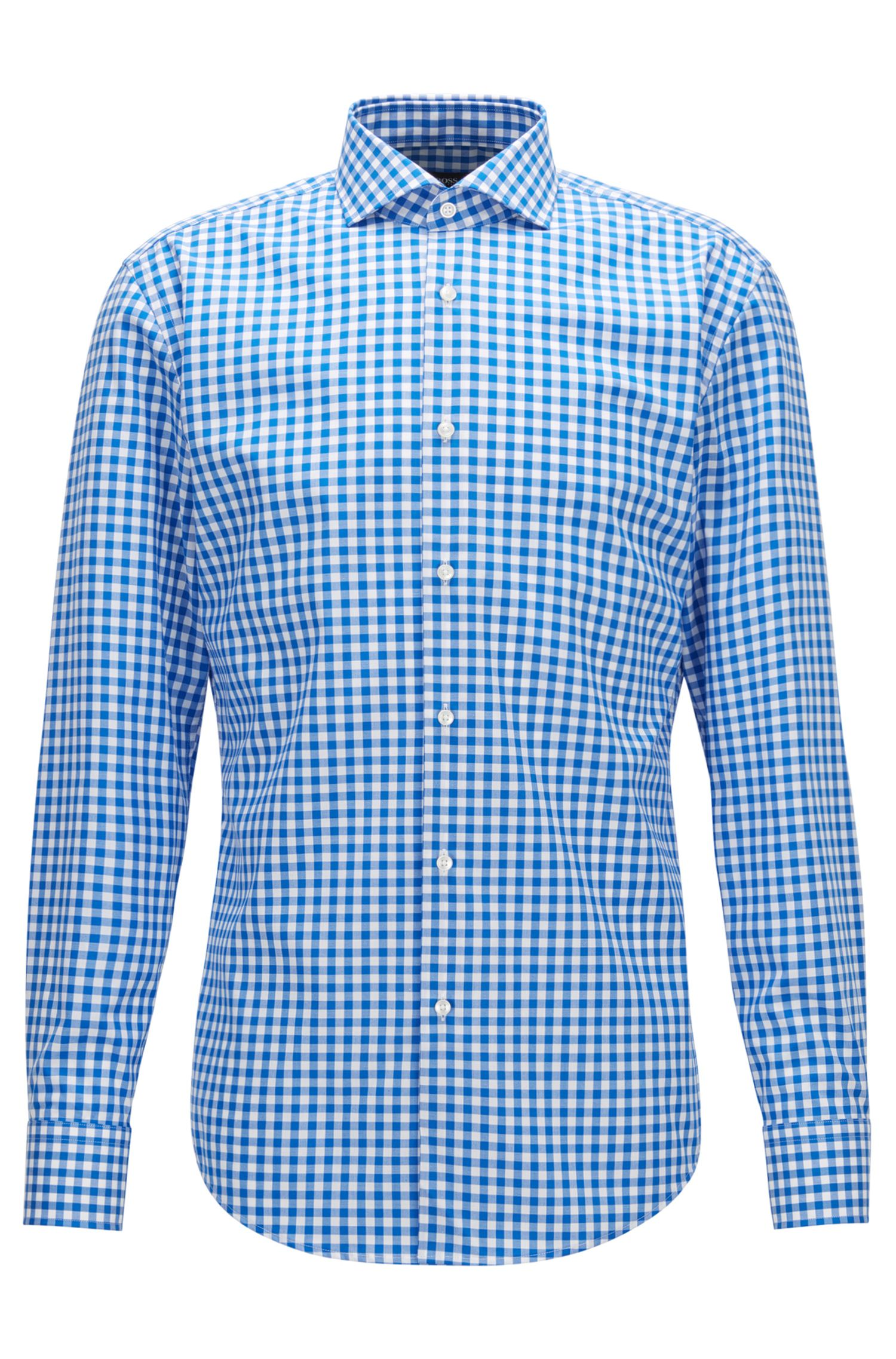 Gingham Cotton Dress Shirt, Slim Fit | Jason