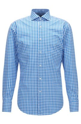 Gingham Cotton Dress Shirt, Slim Fit | Jason, Blue