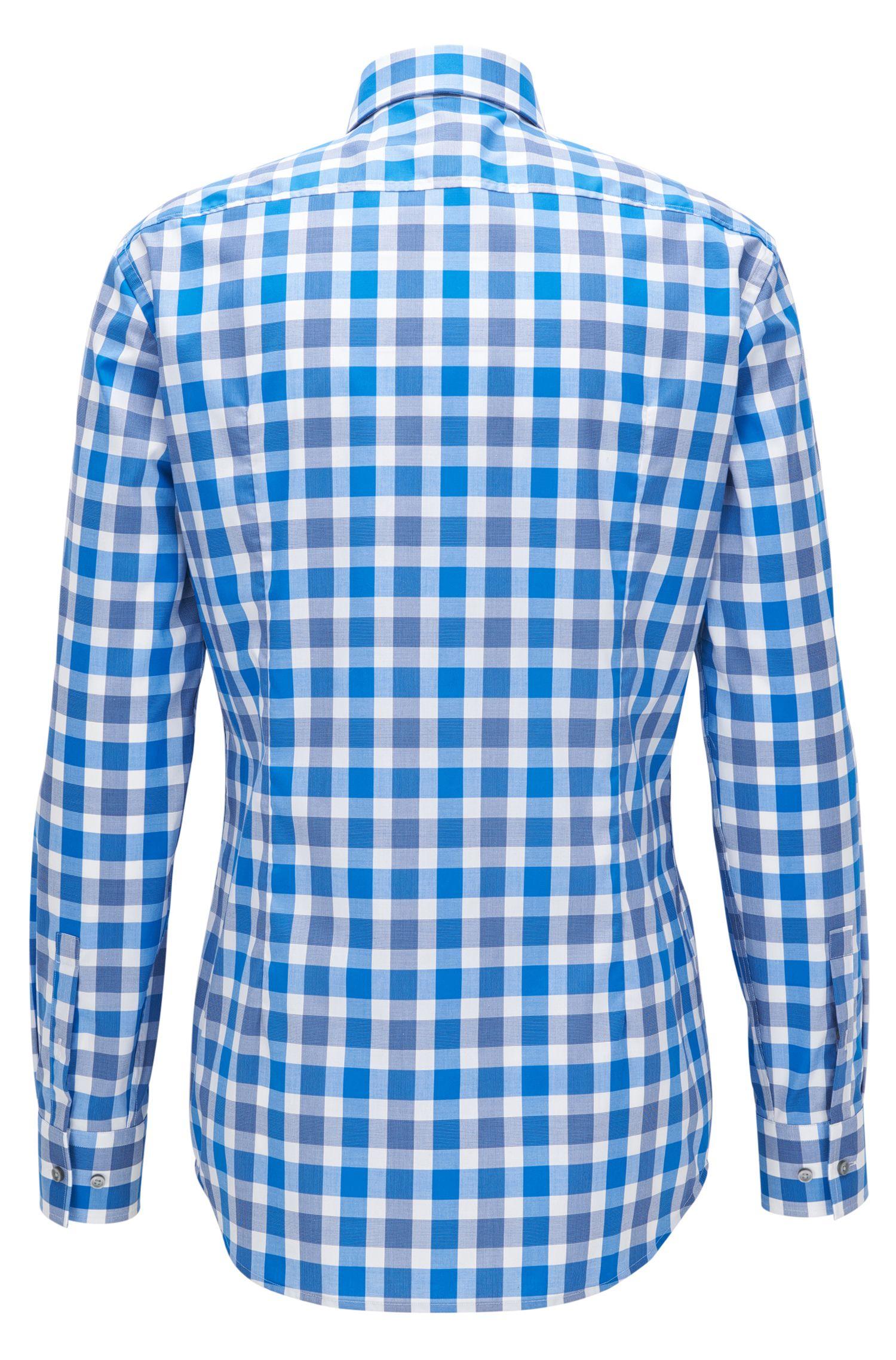 Checked Cotton Dress Shirt, Slim Fit | Jason, Blue