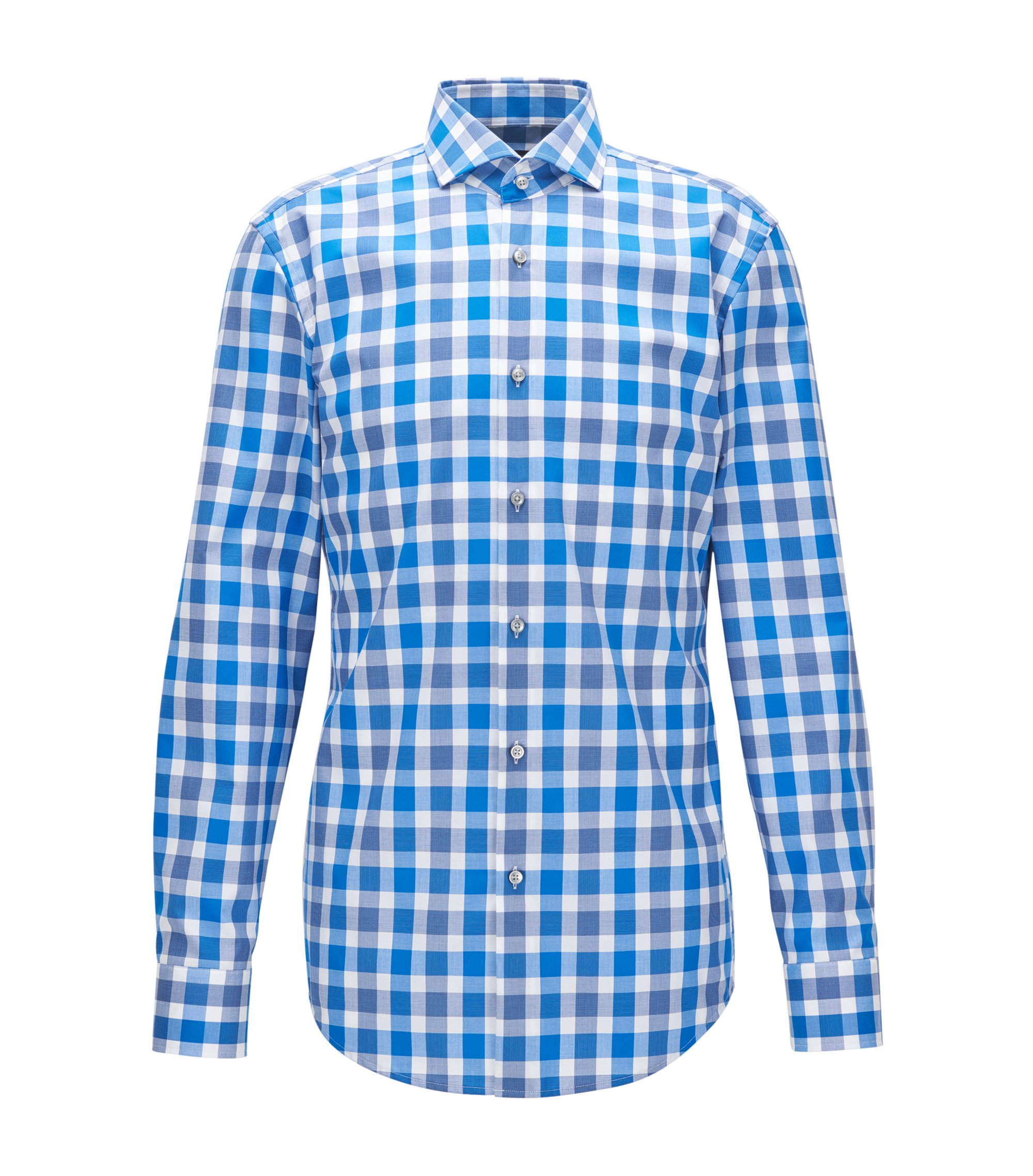 Checked Cotton Dress Shirt, Slim Fit | Jason, Blue