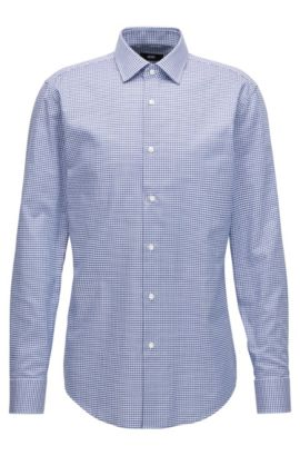 Checked Cotton Dress Shirt, Slim Fit | Jenno, Dark Blue