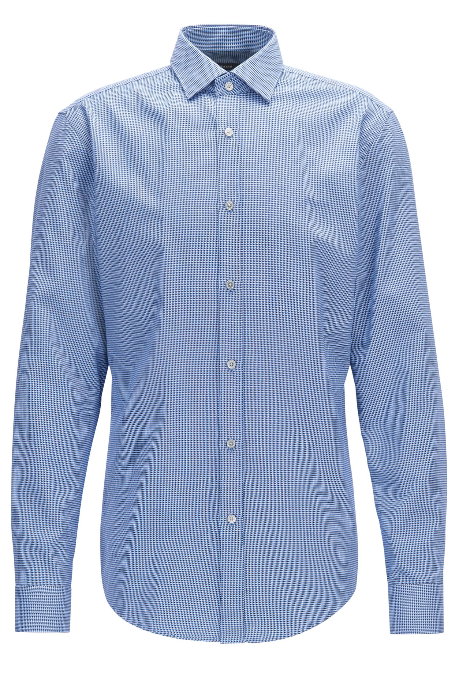 Geo-Patterned Cotton Dress Shirt, Slim Fit | Isaak