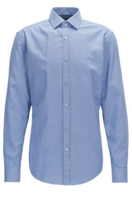 Geo-Patterned Cotton Dress Shirt, Slim Fit | Isaak, Light Blue
