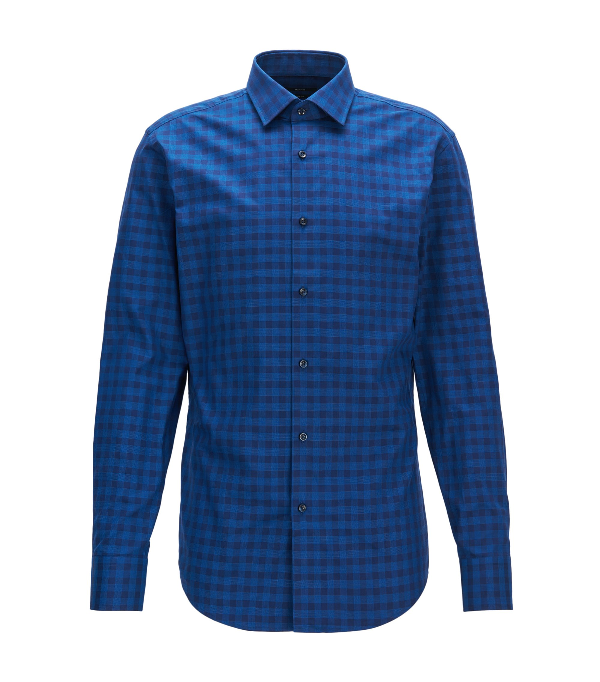 Gingham Cotton Dress Shirt, Slim Fit | Jenno, Blue