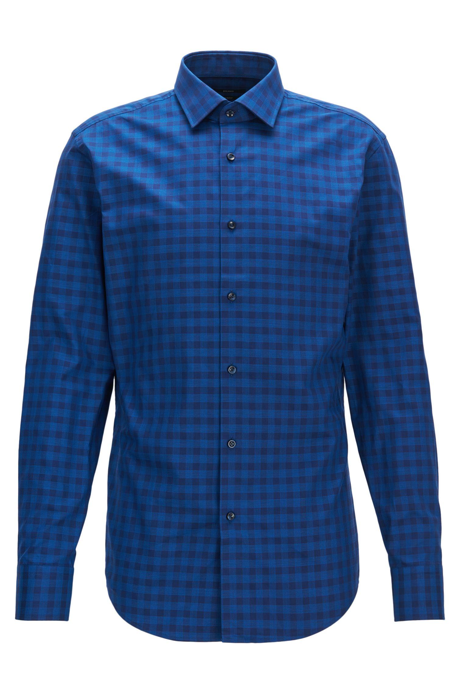 Gingham Cotton Dress Shirt, Slim Fit   Jenno