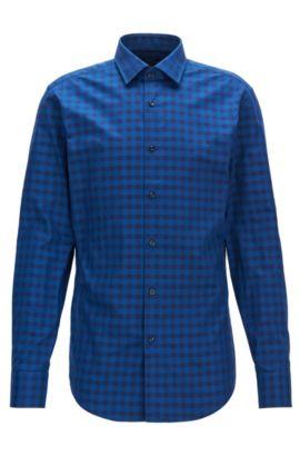 Gingham Cotton Dress Shirt, Slim Fit | Jenno, Blue