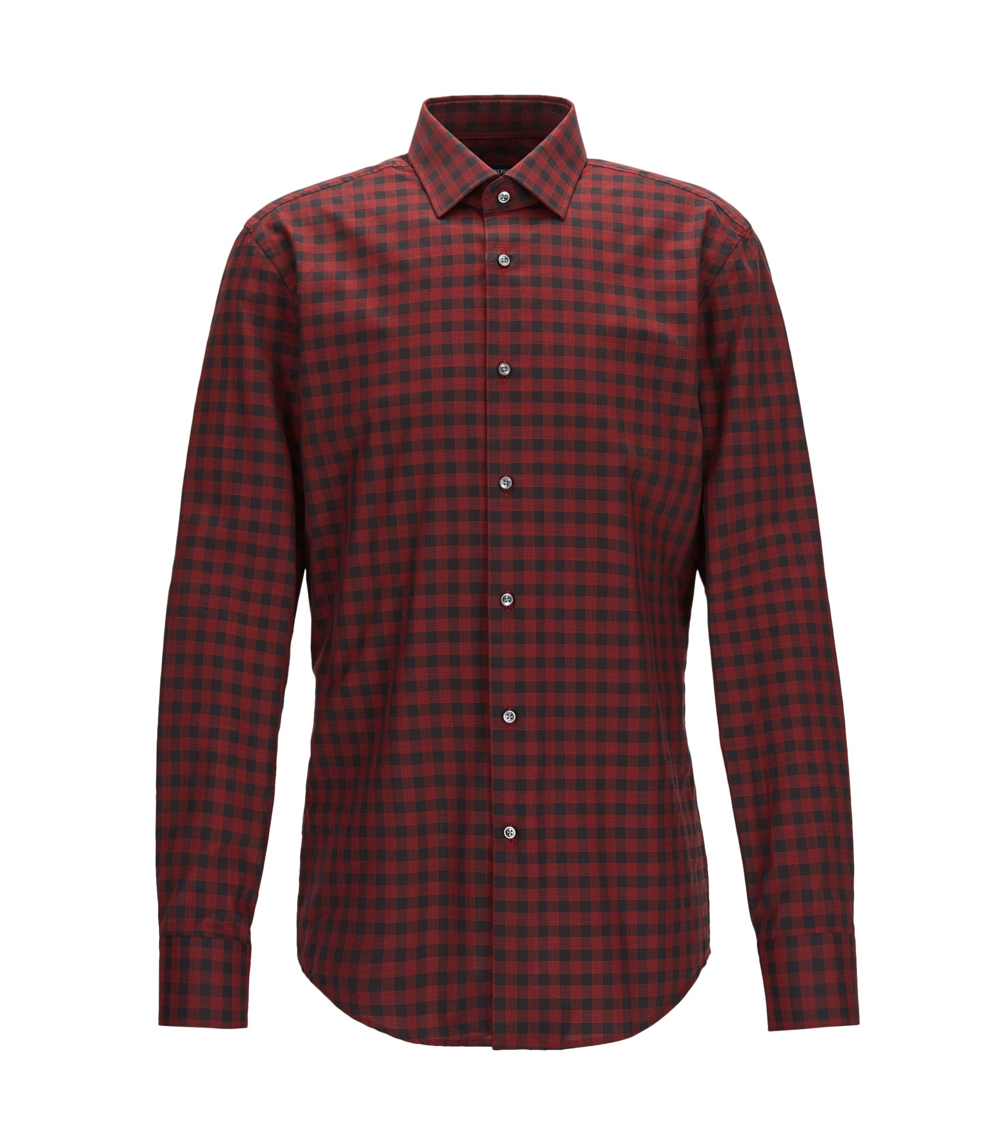 Gingham Cotton Dress Shirt, Slim Fit | Jenno, Red