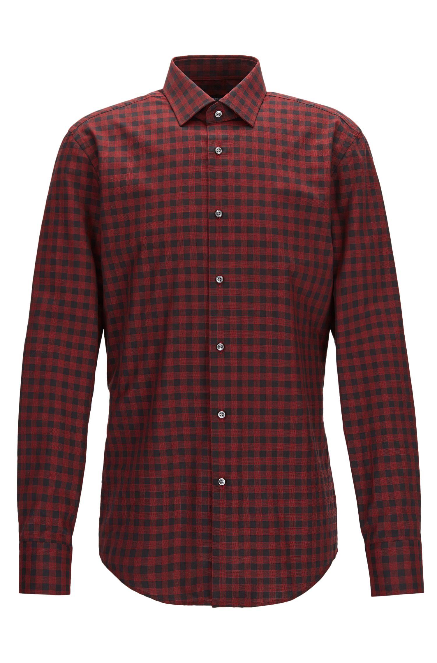 Gingham Cotton Dress Shirt, Slim Fit | Jenno, Red