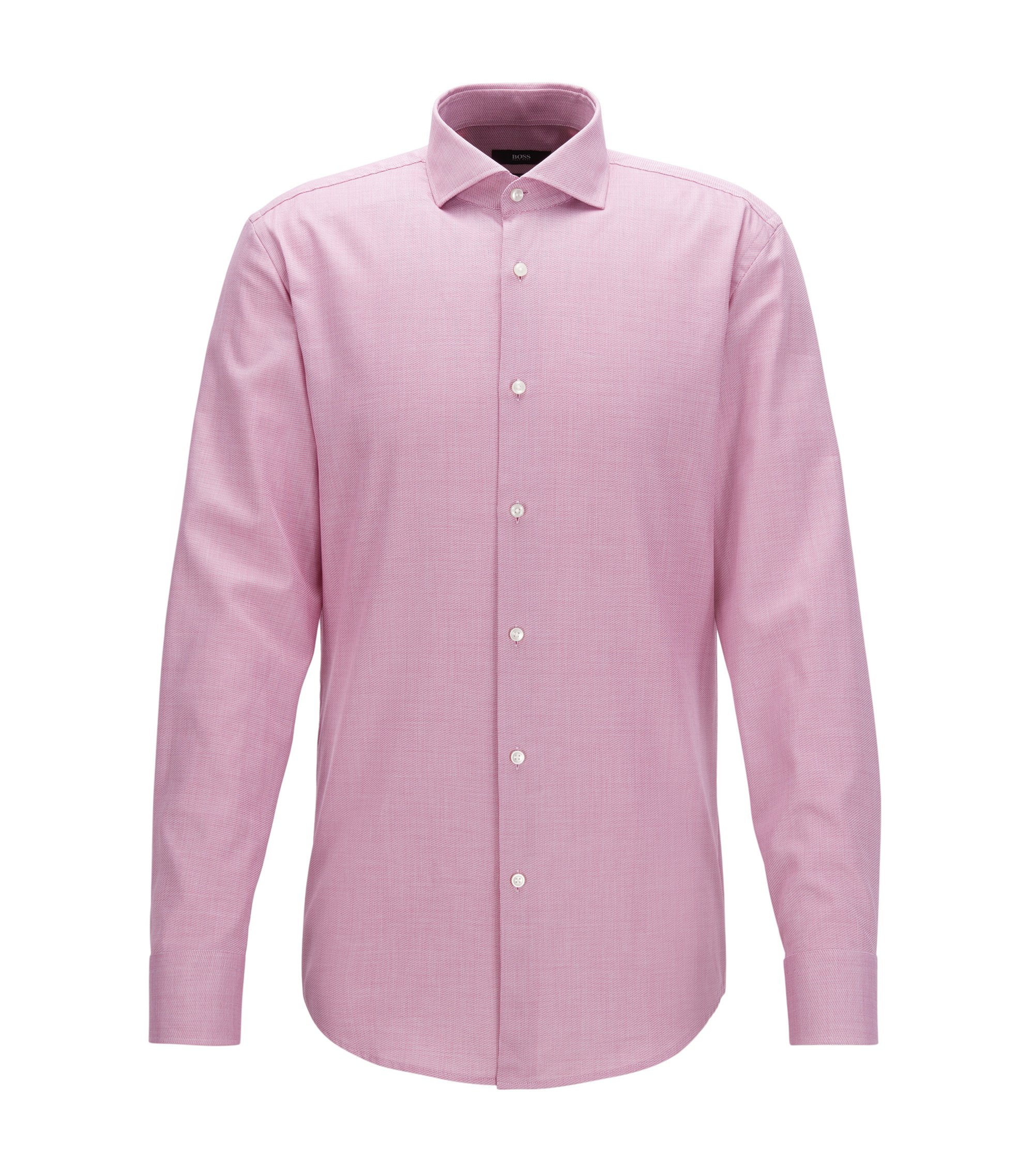 Cotton Dress Shirt, Slim Fit | Jason, Dark pink