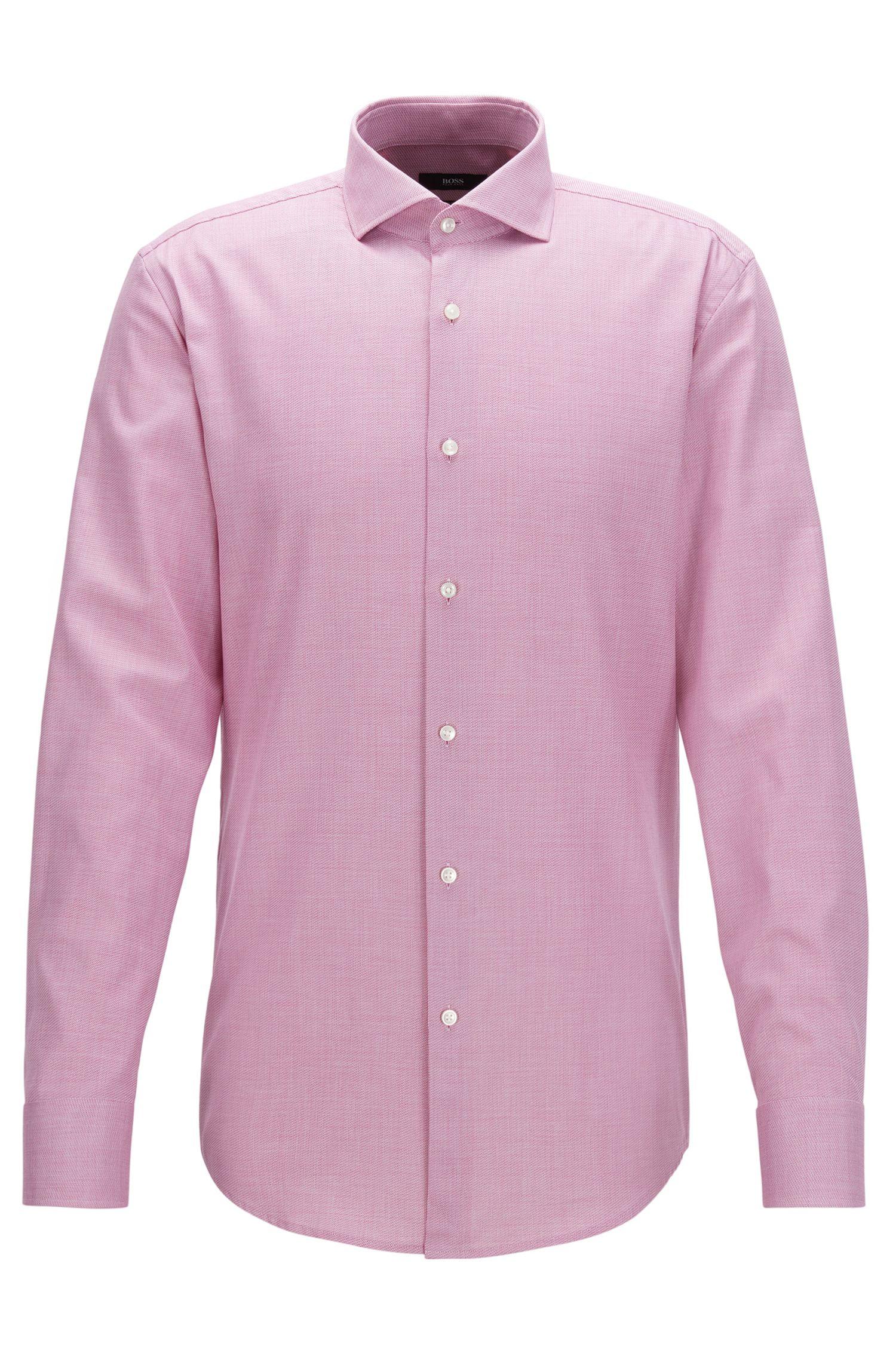 Cotton Dress Shirt, Slim Fit | Jason, Dark pink
