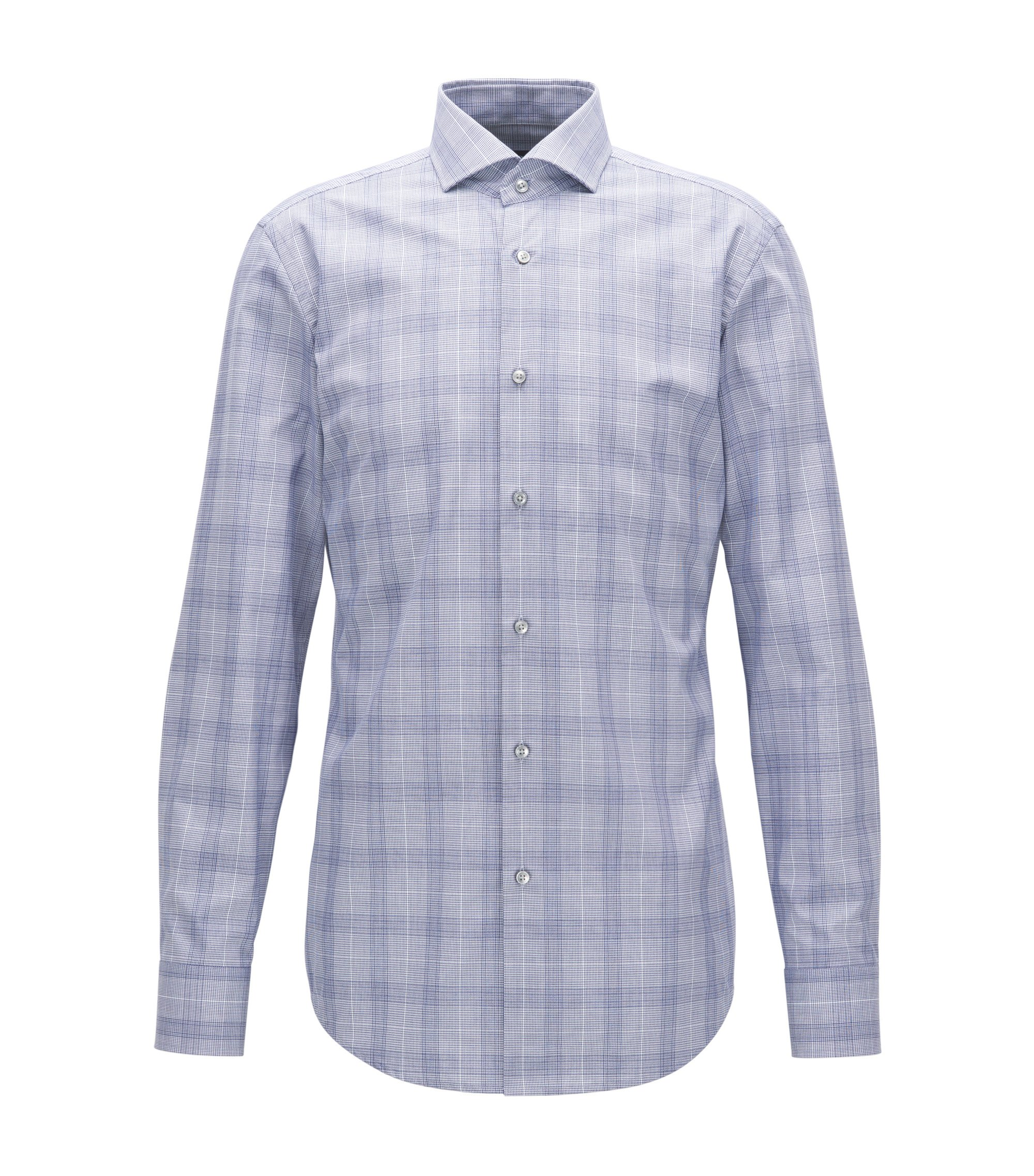 Windowpane Cotton Dress Shirt, Slim Fit | Jason, Dark Blue