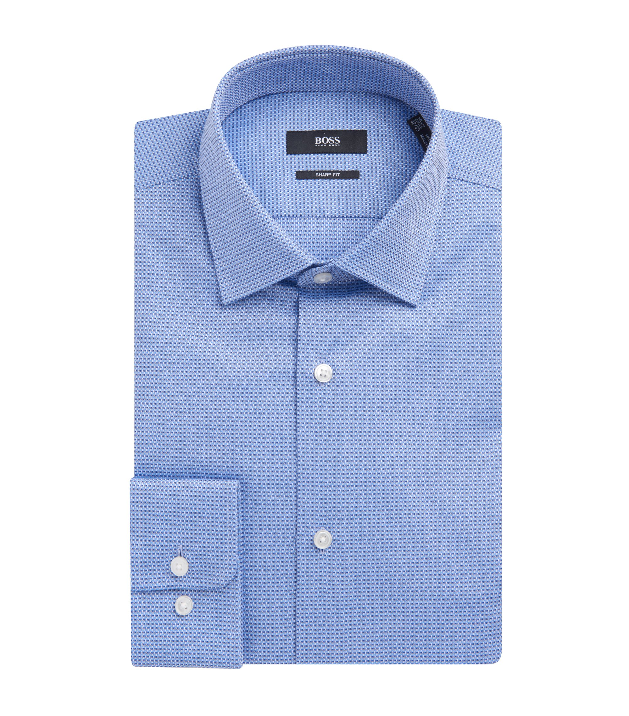 Basketweave Cotton Dress Shirt, Sharp Fit | Marley US, Blue