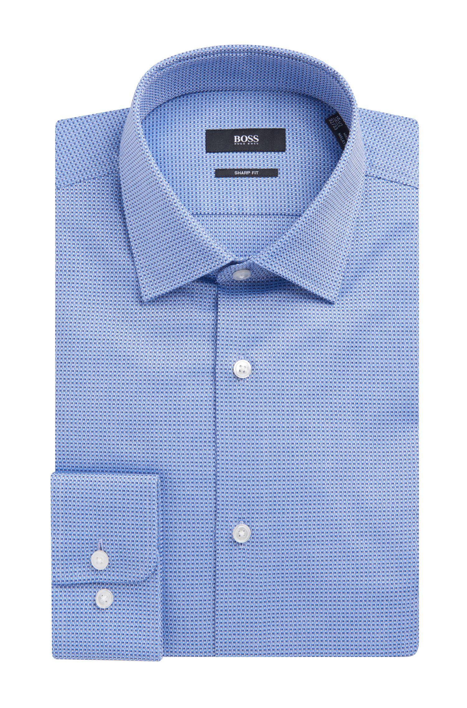 Basketweave Cotton Dress Shirt, Sharp Fit   Marley US, Blue