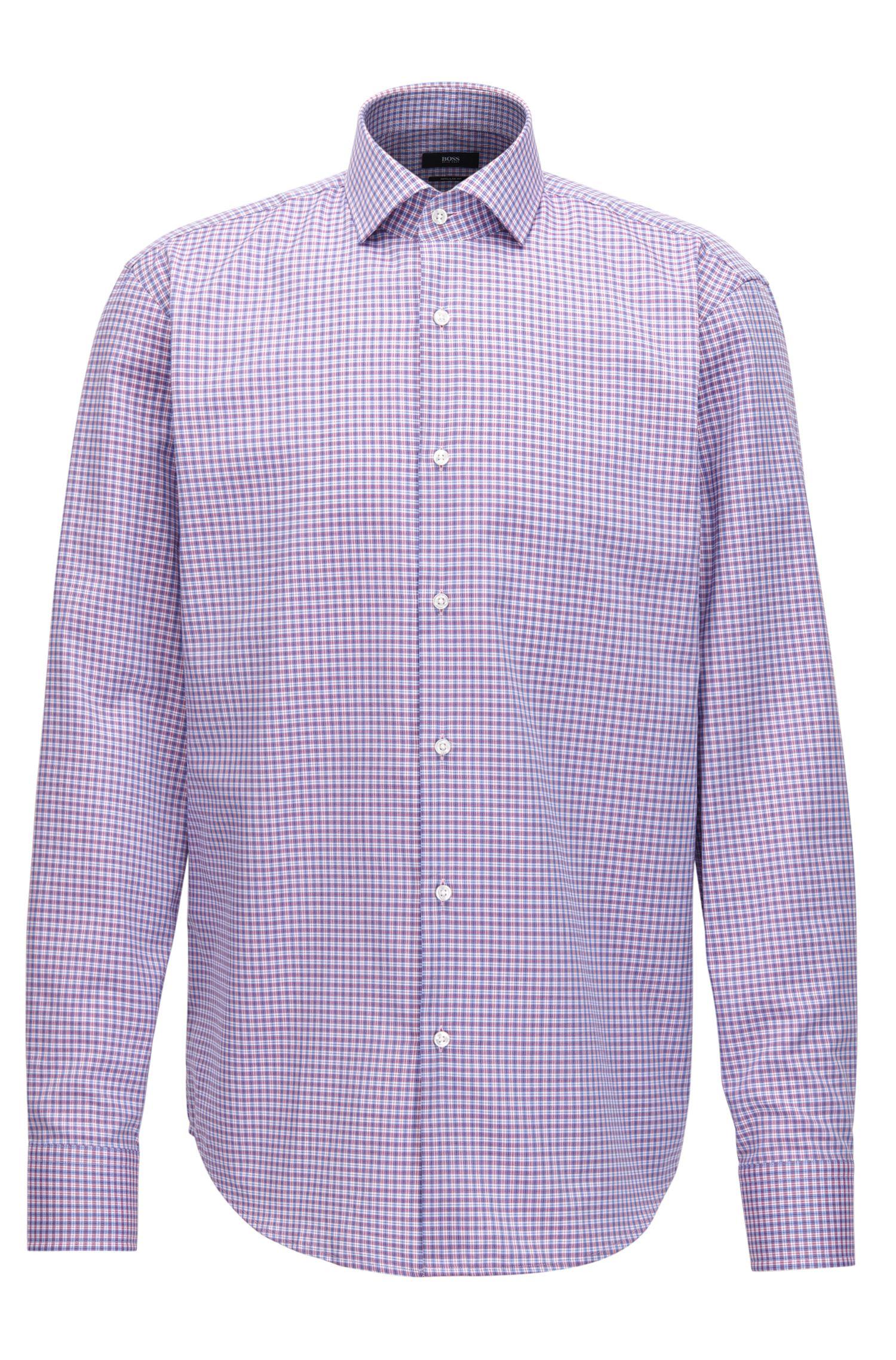 Plaid Cotton Dress Shirt, Regular Fit | Gordon