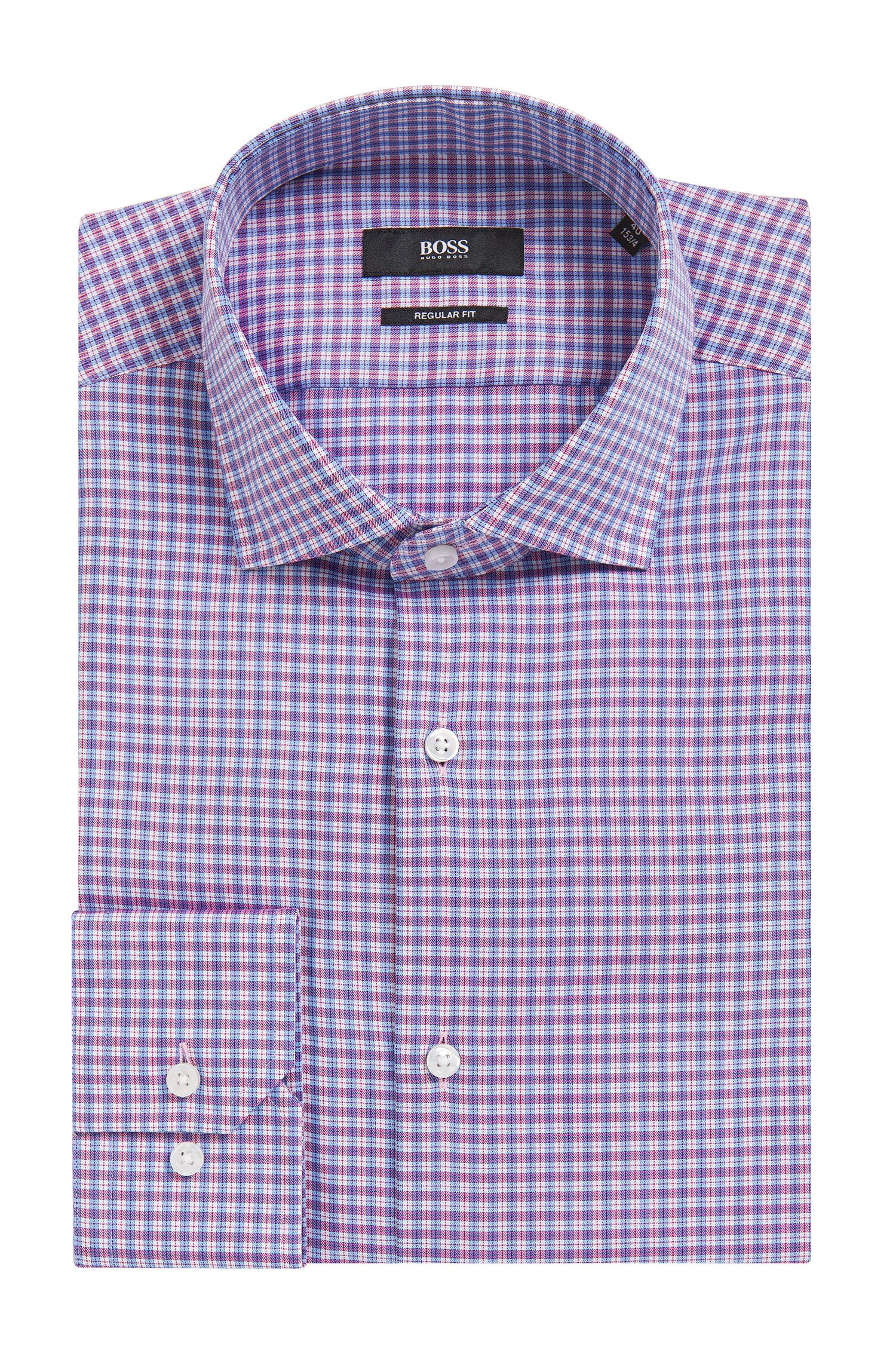 Plaid Cotton Dress Shirt, Regular Fit | Gordon, Dark pink
