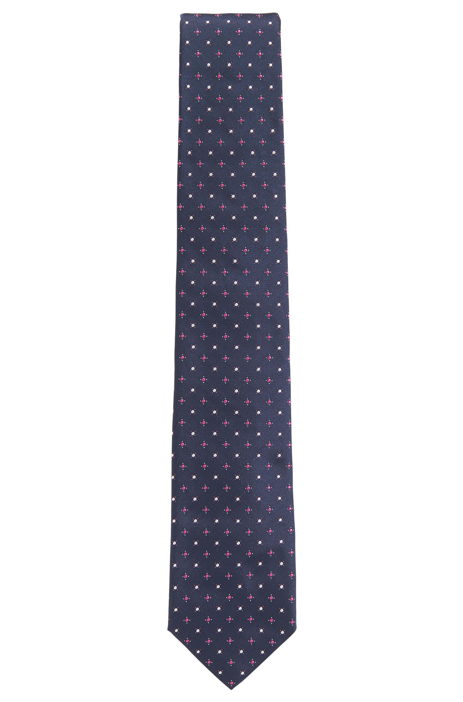 Dot Embroidered Italian Silk Tie, Dark pink