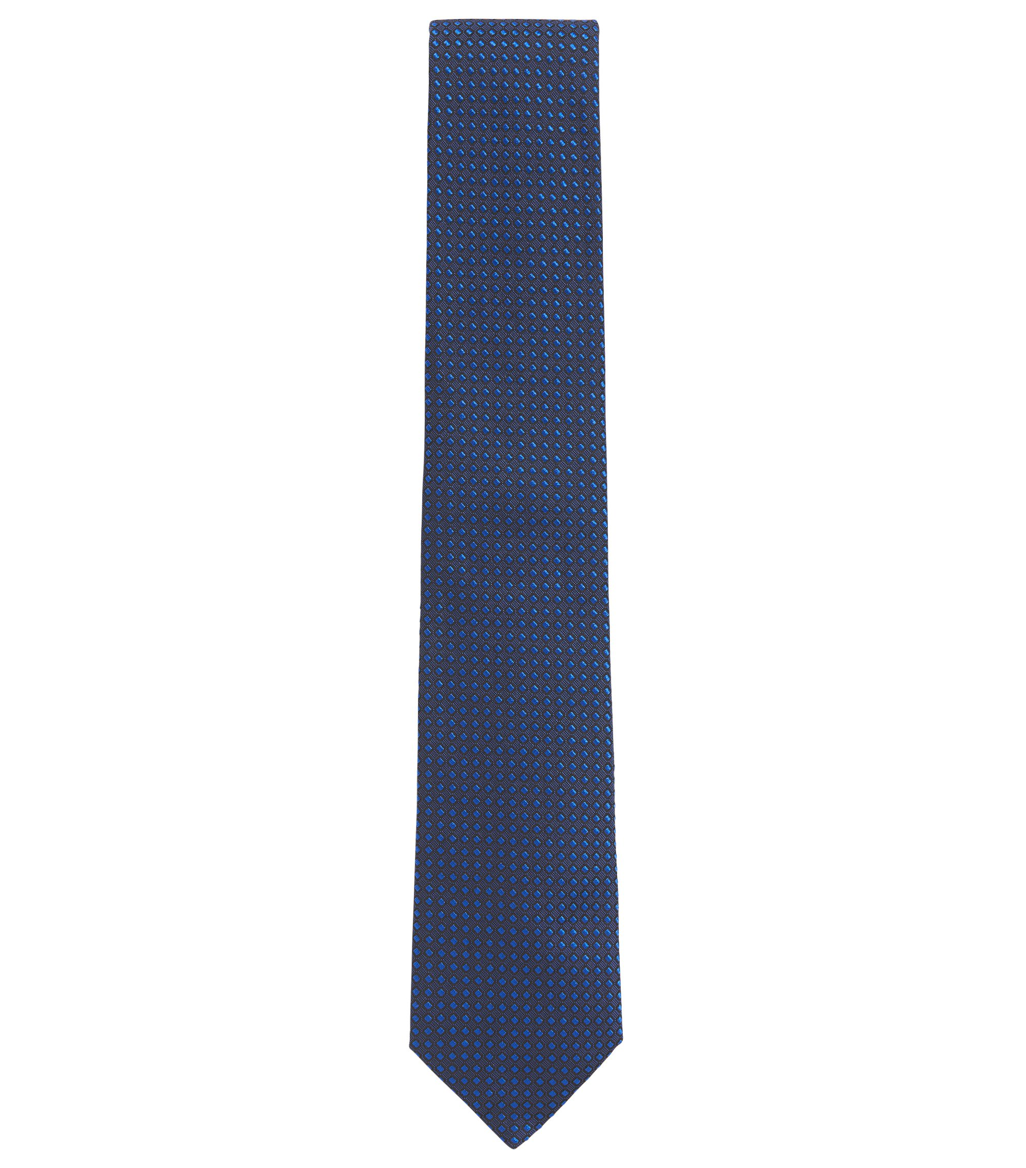 Dot Embroidered Italian Silk Tie, Dark Blue
