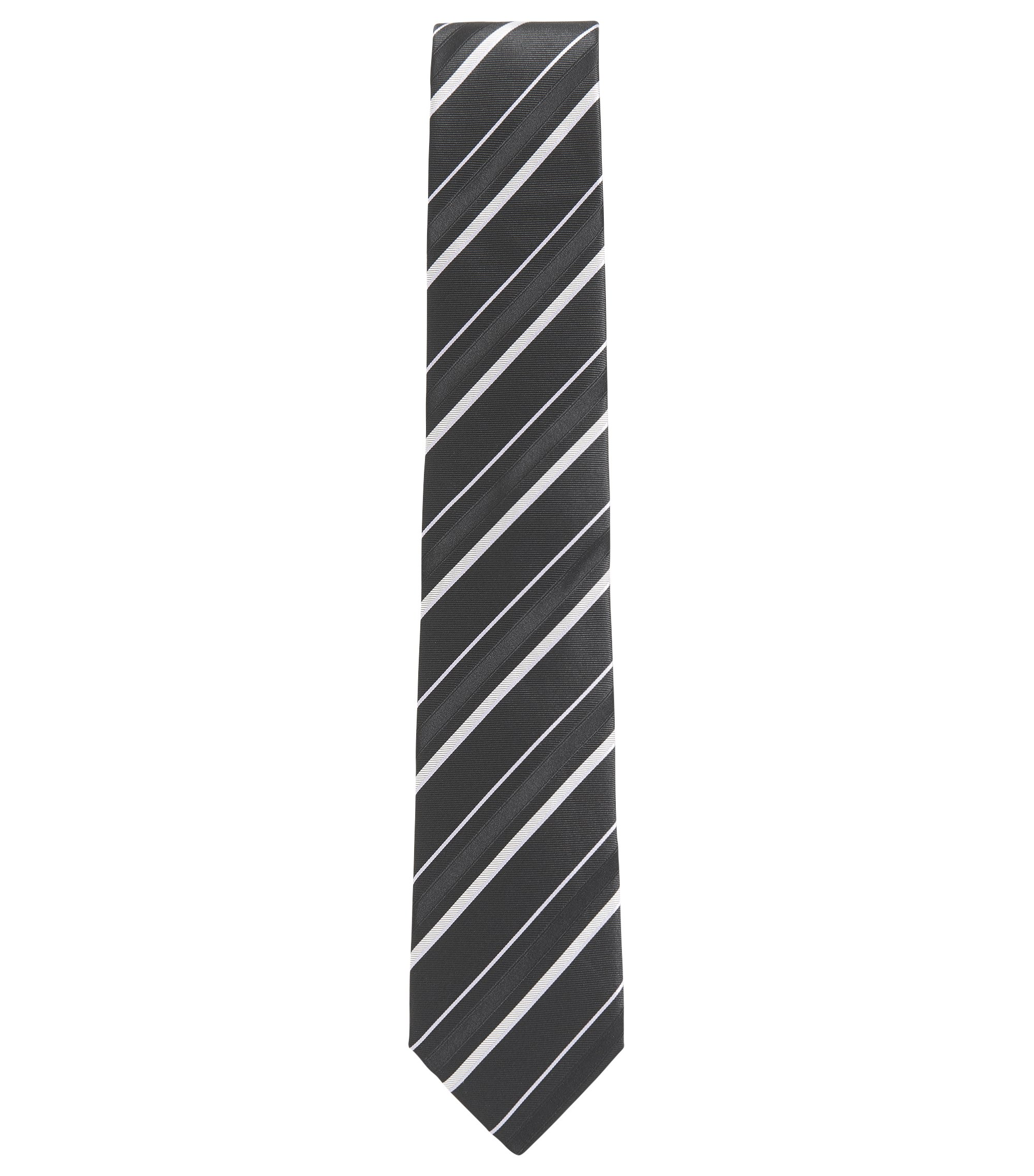 Striped Italian Silk Tie, Black