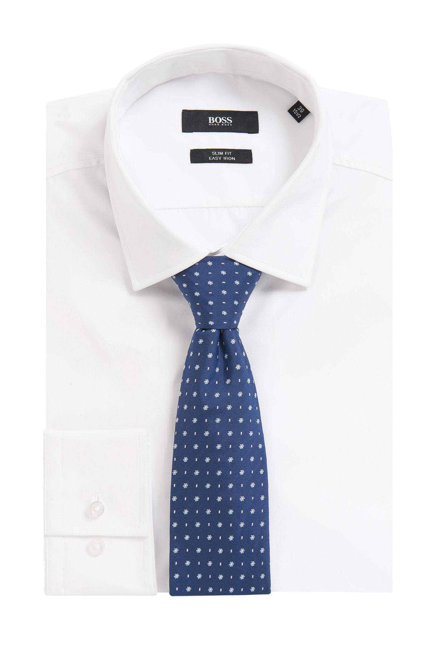 Floral Italian Silk Tie, Dark Blue