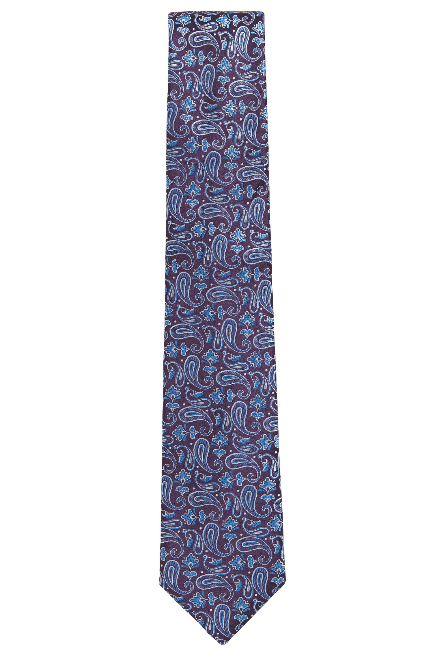Paisley Jacquard Italian Silk Tie , Dark Purple