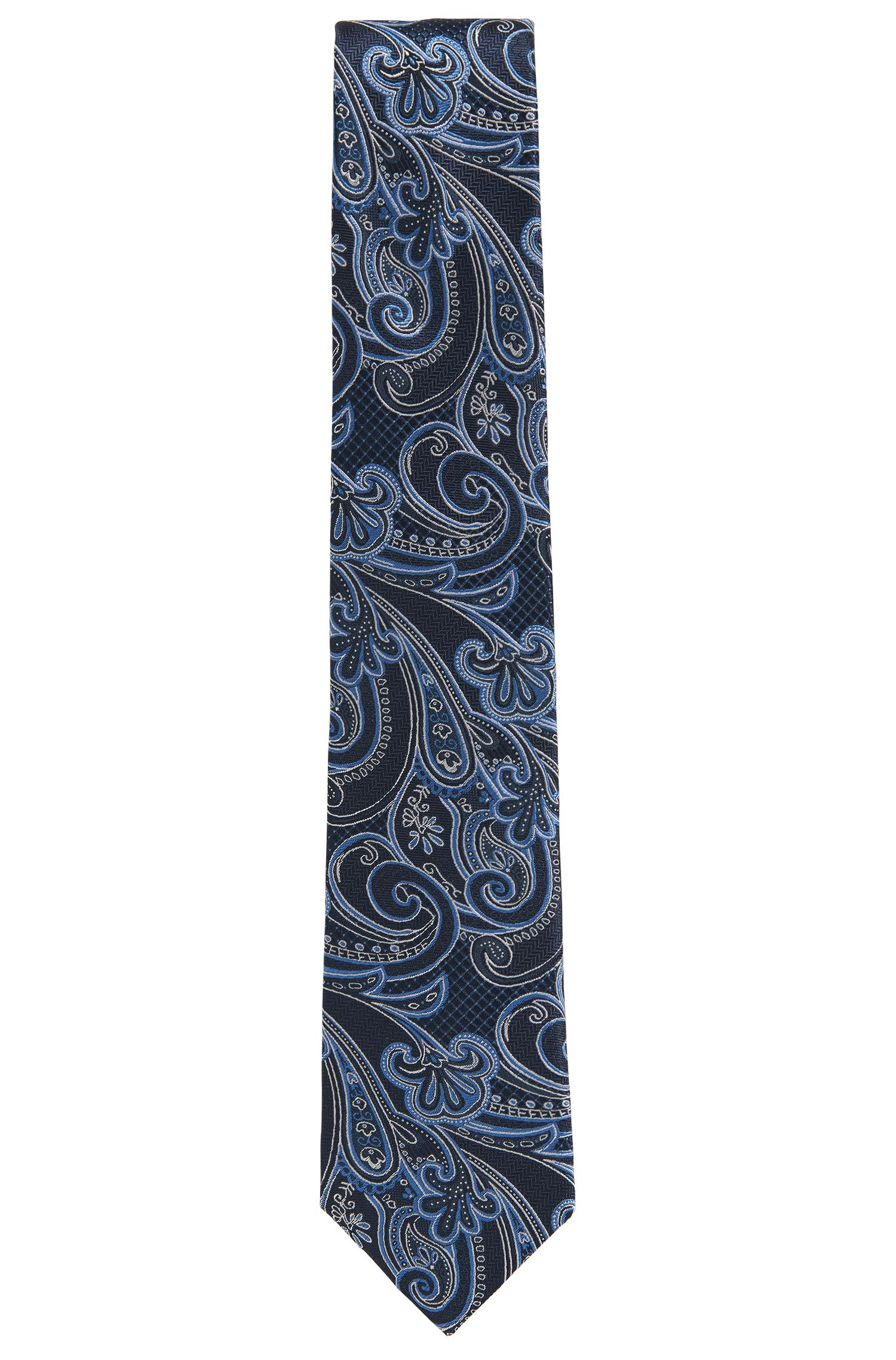 Square Jacquard Italian Silk Tie, Dark Blue