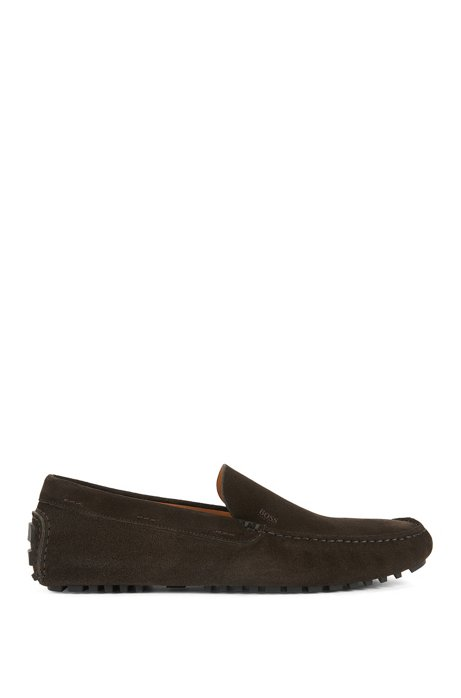 Suede Driving Loafer | Leather Driver , Dark Brown