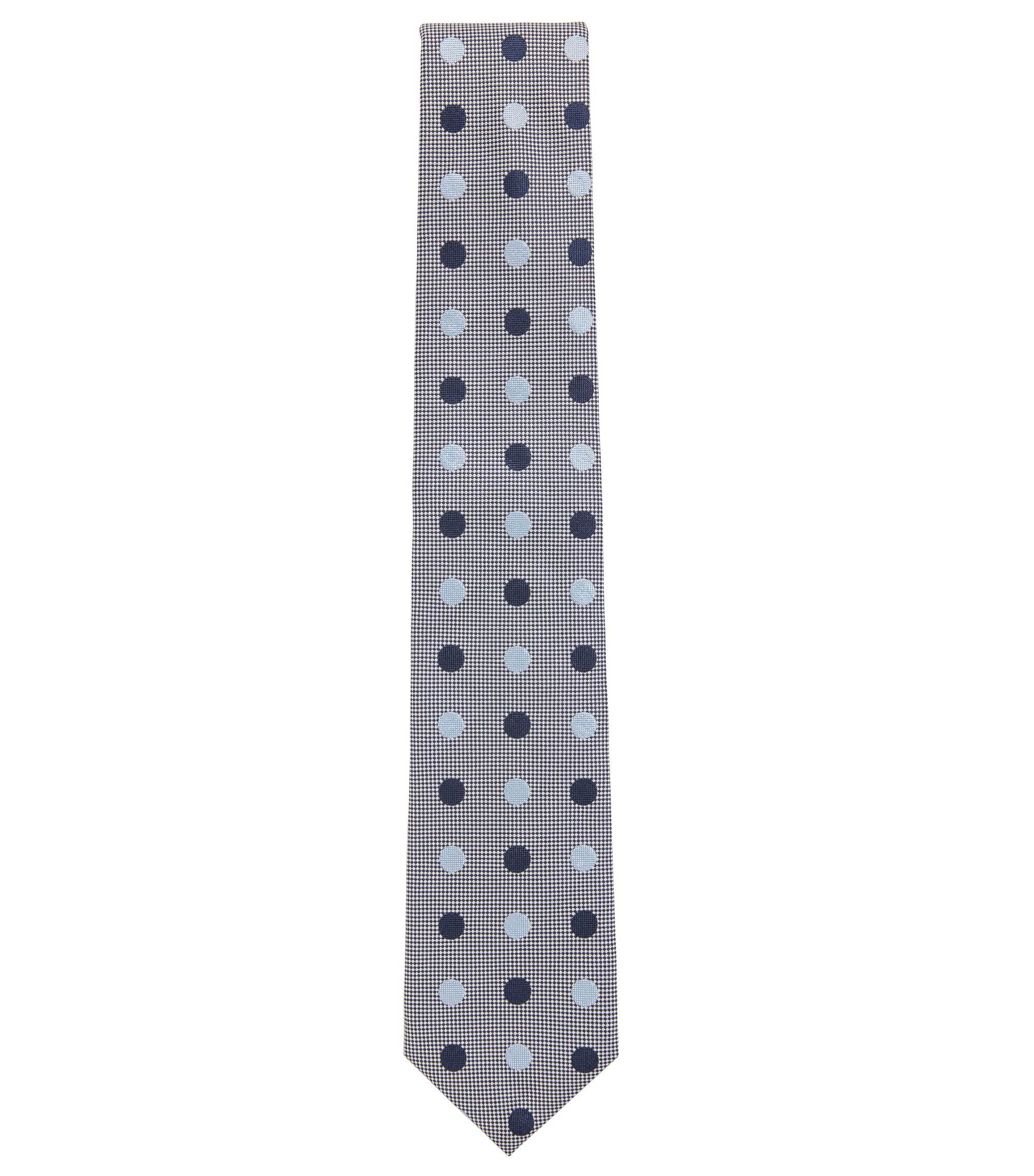 Polka Dot Italian Silk Tie, Dark Blue