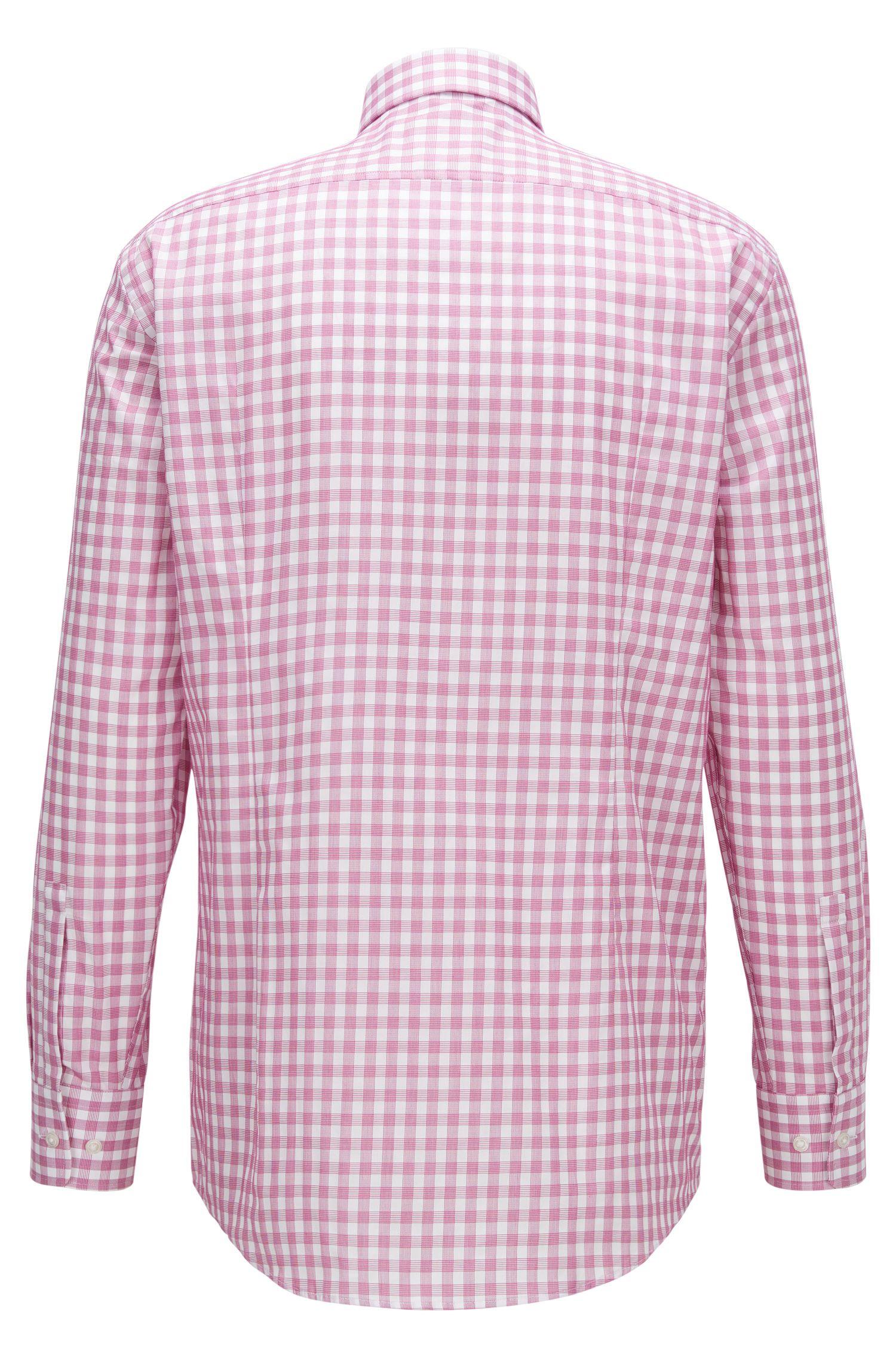 Checked Cotton Dress Shirt, Sharp Fit | Marley US, Dark pink