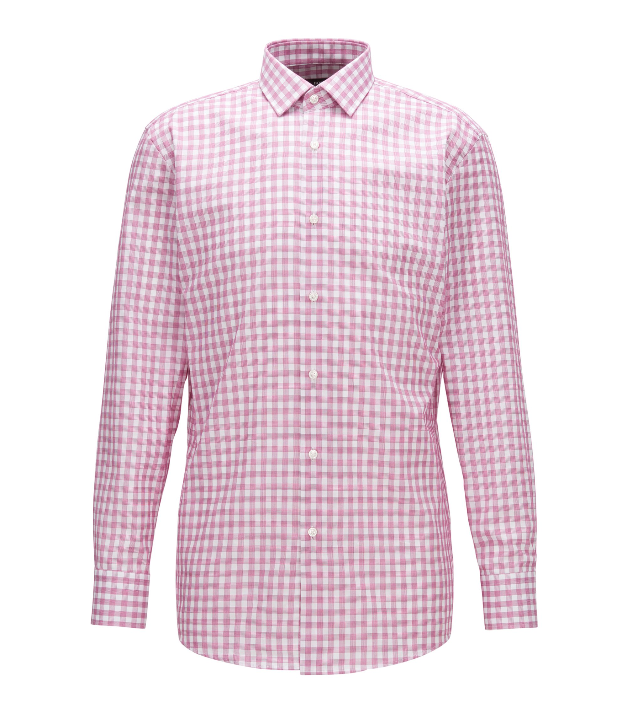 Checked Cotton Dress Shirt, Sharp Fit | Marley US, Dark pink