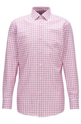 Checked Cotton Dress Shirt, Slim Fit | Marley US, Dark pink