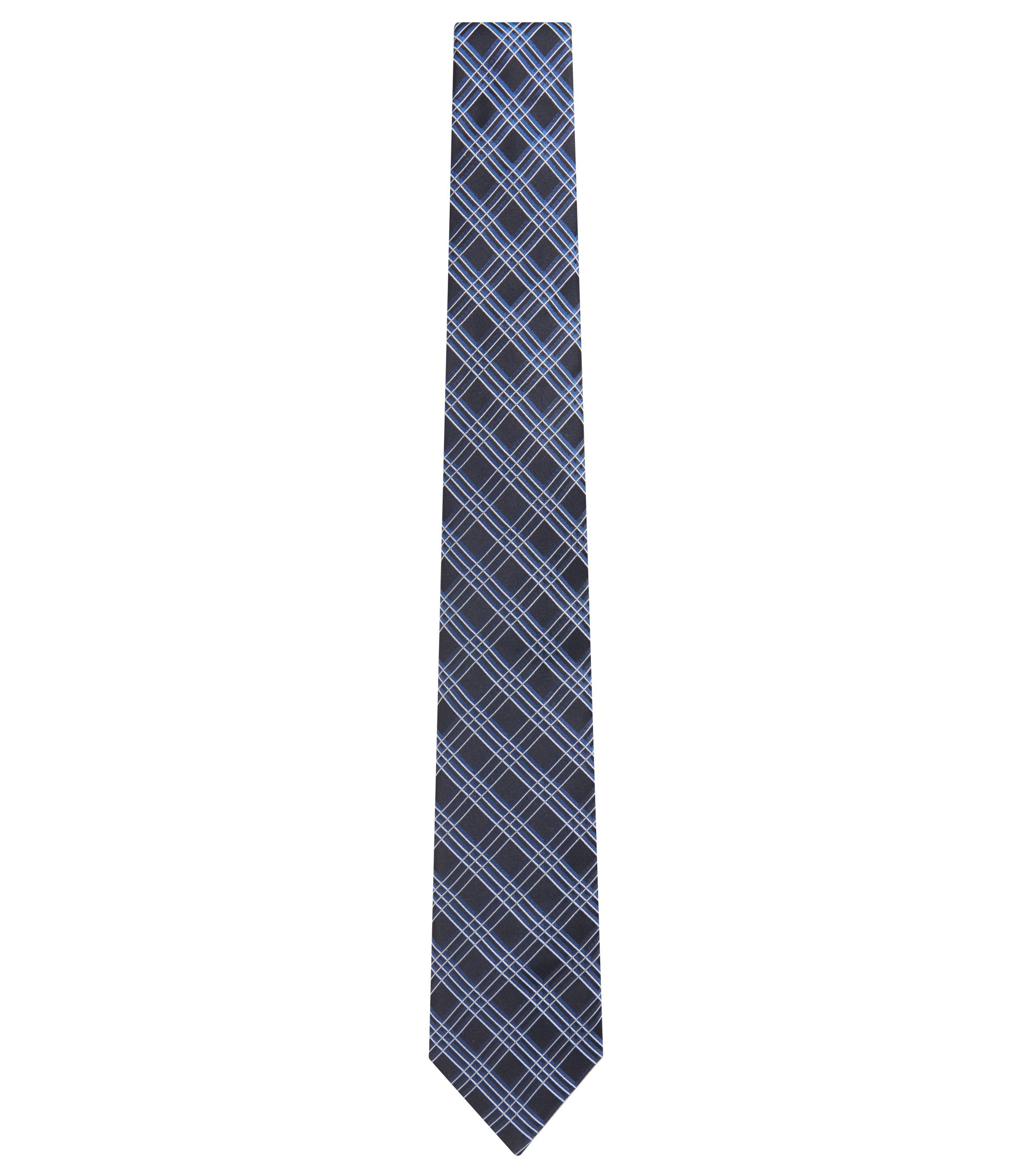 Plaid Italian Silk Tie, Blue