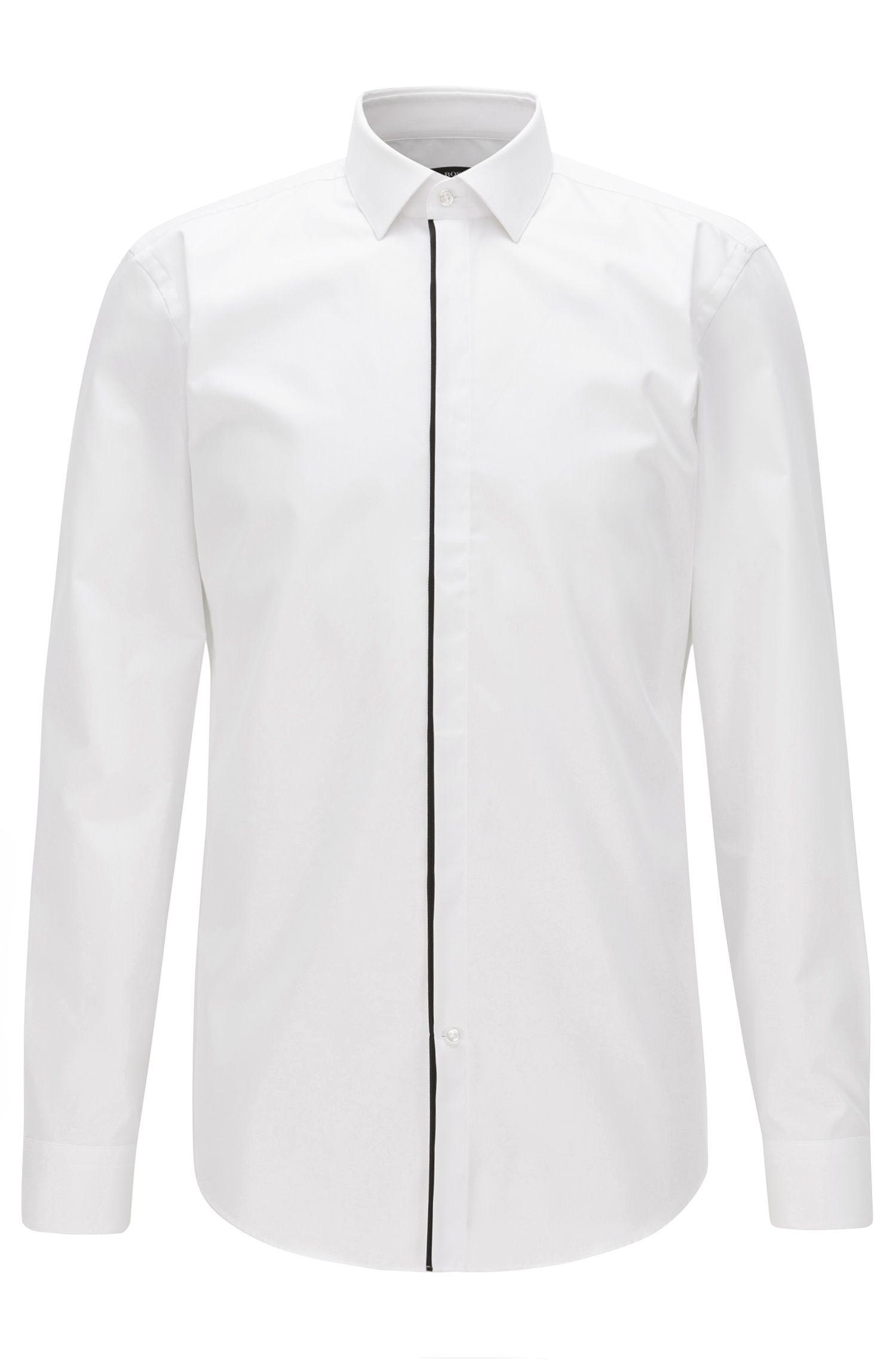 Piped Cotton Dress Shirt, Slim Fit | Jamis