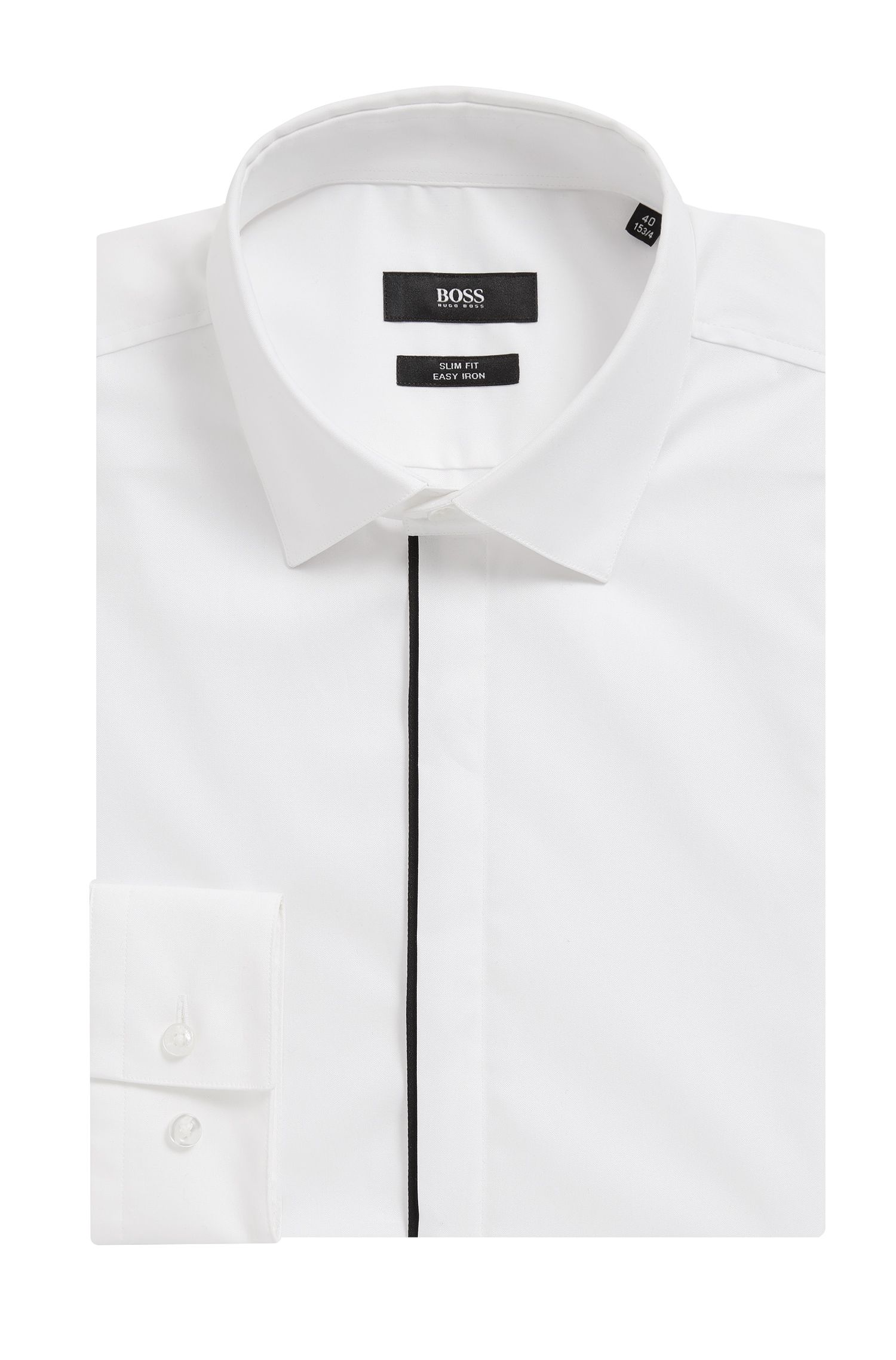 Piped Cotton Dress Shirt, Slim Fit | Jamis, White