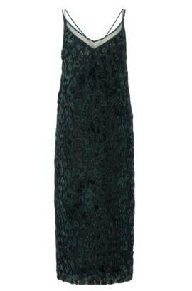 Leopard Print Velvet Cocktail Dress | Dudania, Dark Green