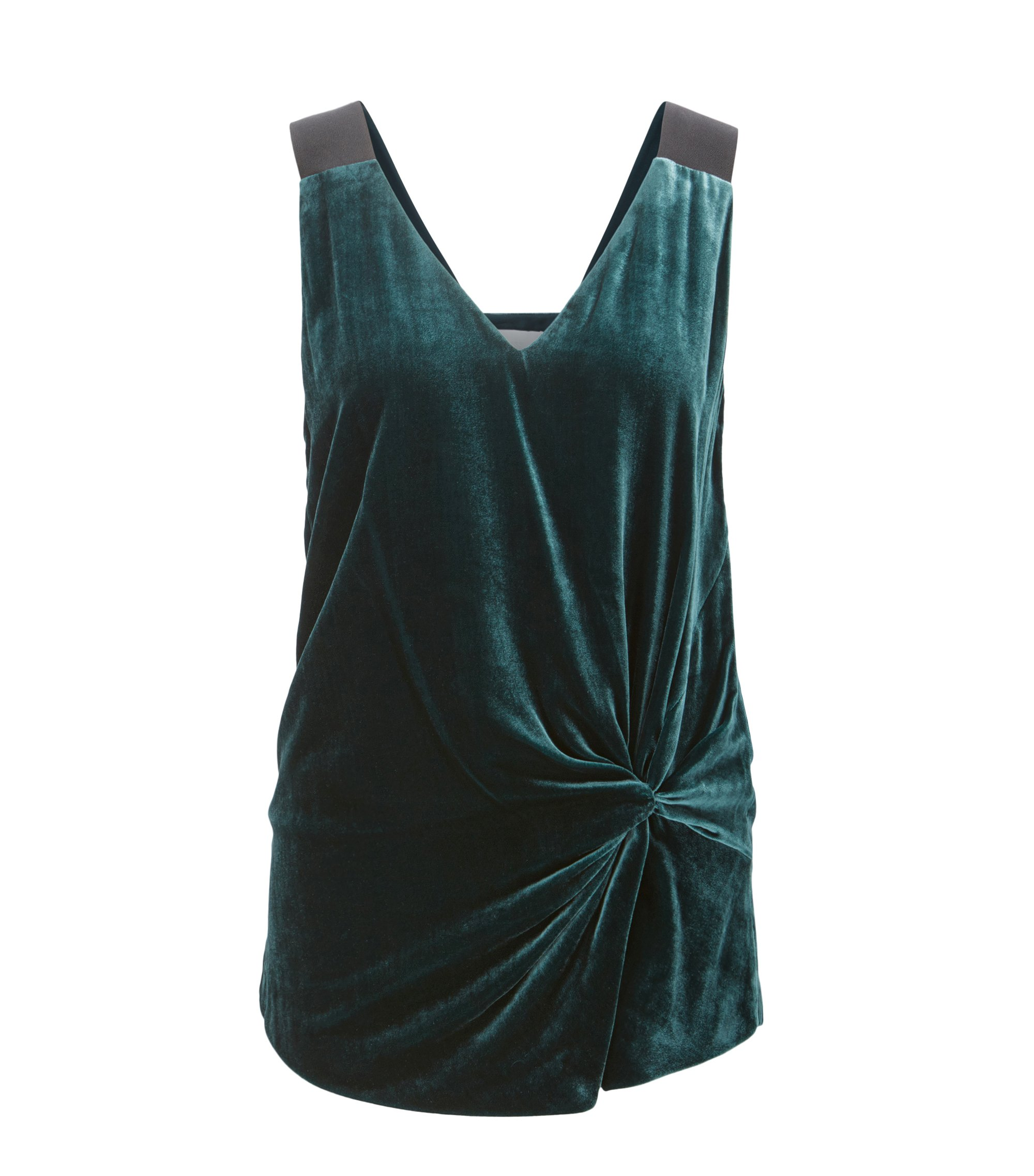 Knotted Velvet Top | Ikaria, Dark Green