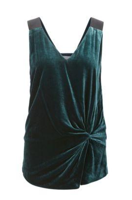 Knotted Velvet Top | Ikaria, Dark Green