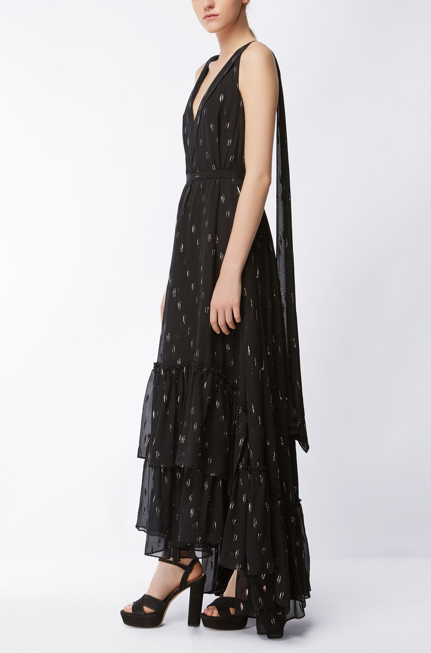 Metallized Silk Dress | Davimea, Patterned