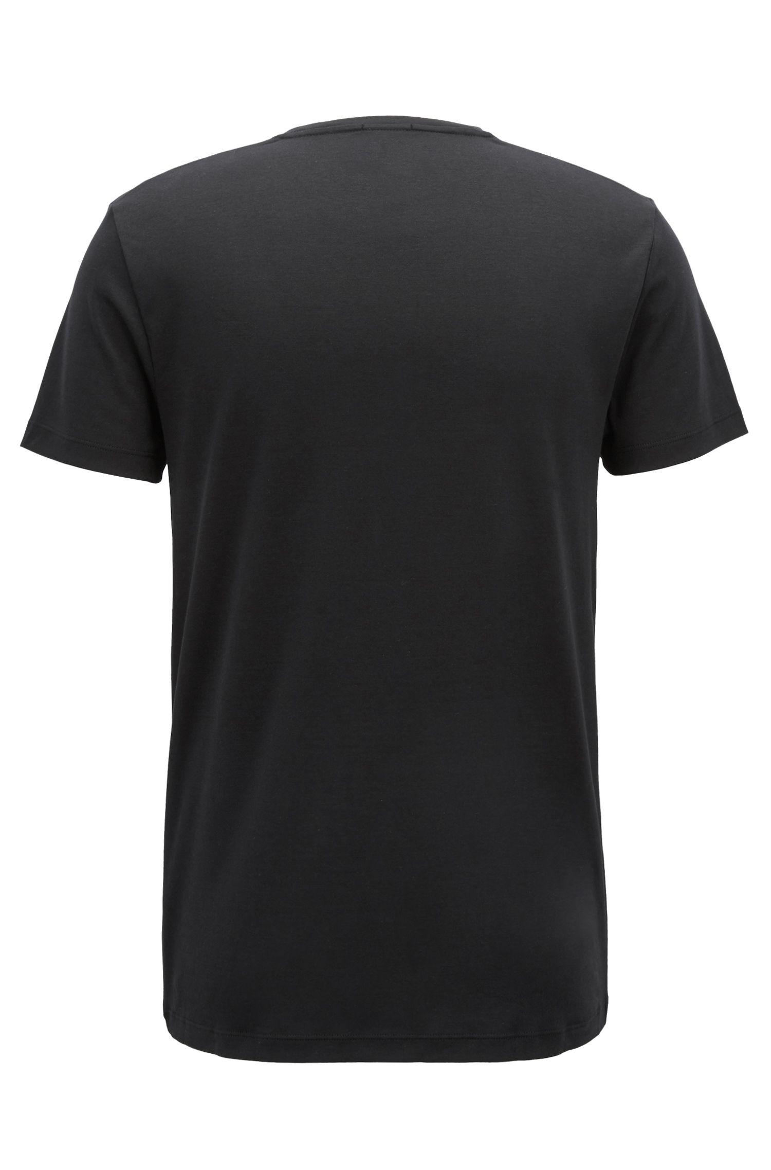 Slim-fit T-shirt in cotton with velvet logo, Black