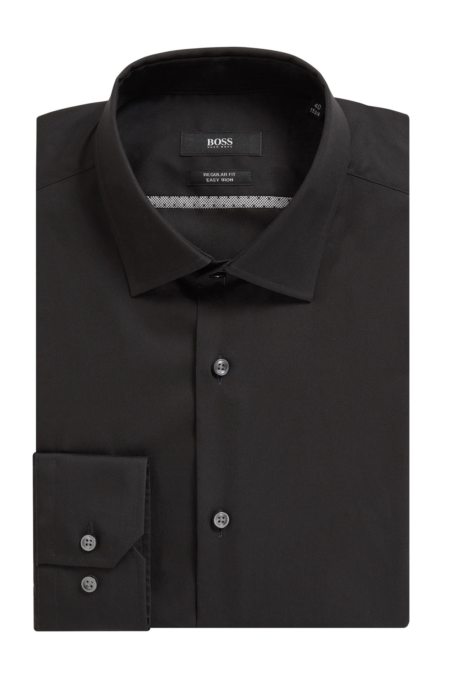 Easy Iron Cotton Dress Shirt, Regular Fit | Gerton, Black