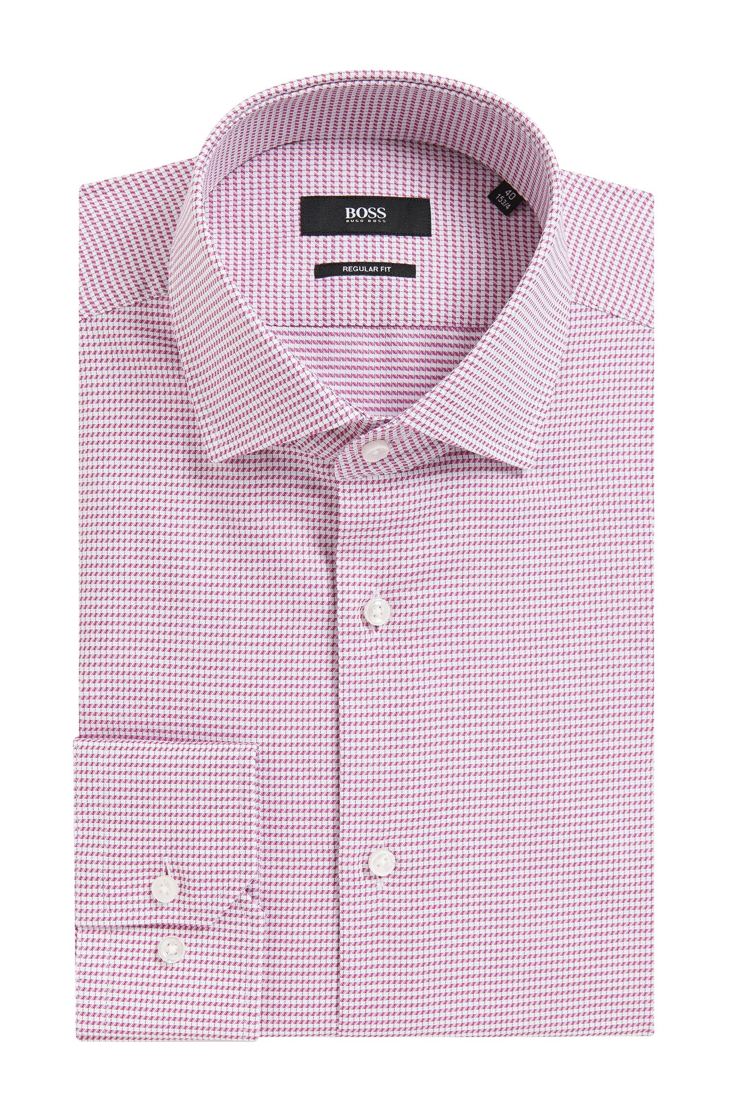 Geometric Check Cotton Dress Shirt, Regular Fit | Gordon